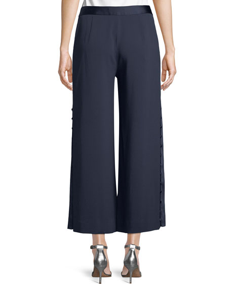 Deconstructed Satin Crepe Button-Down Side Crop Pant