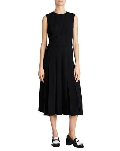 Aria Sleeveless Box-Pleat Dress