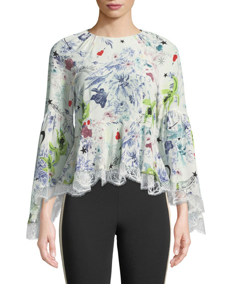Woman Avalon Lace-Trimmed Printed Silk Crepe De Chine Peplum Blouse White