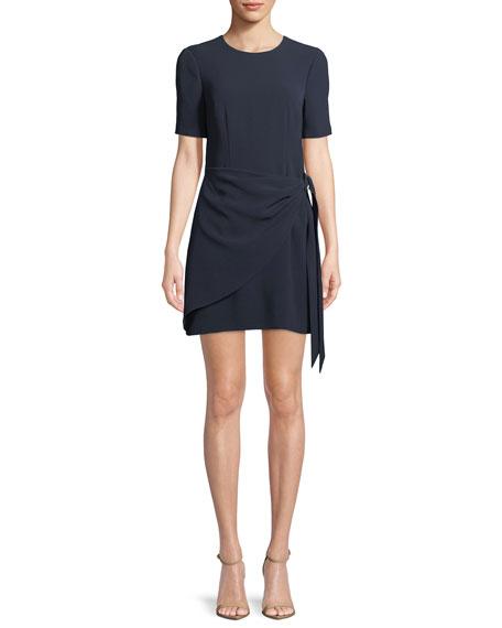 Bia Crewneck Short-Sleeve Crepe Short Cocktail Dress