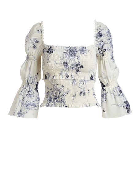Adelaide Inky Floral Smocked Silk Top
