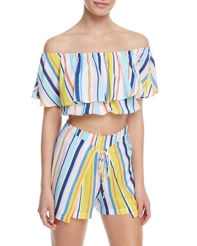 Amalfi Coast Off-the-Shoulder Striped Crop Top