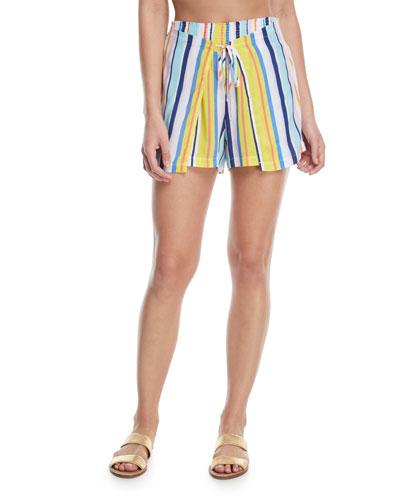 Amalfi Coast Striped Cotton Coverup Shorts