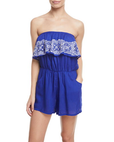 Portofino Strapless Embroidered Romper