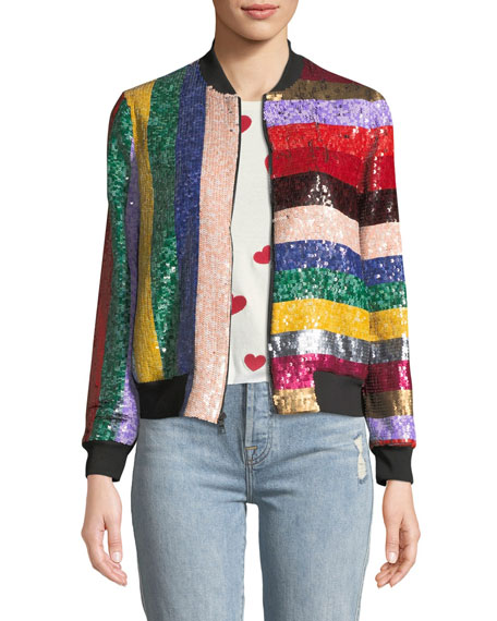 61fae8a73 Lonnie Zip-Front Sequined Leather Bomber Jacket