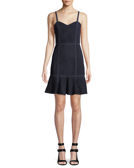 Desmond Sweetheart-Neck Fit-and-Flare Suede Dress