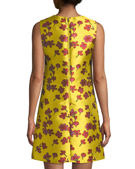 Coley Sleeveless Floral-Jacquard A-Line Dress