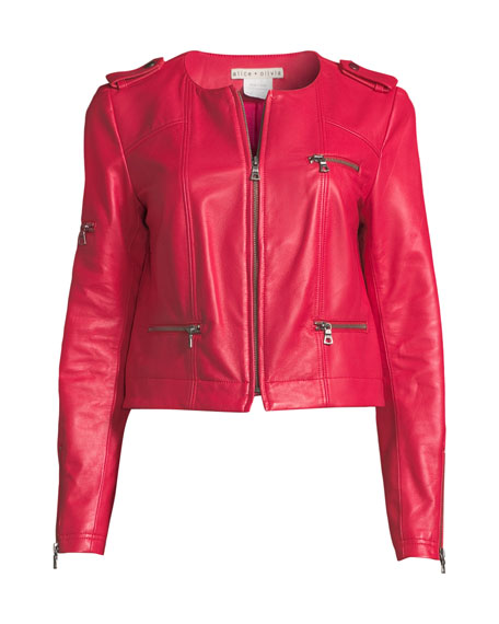 Zip-Front Leather Biker Jacket