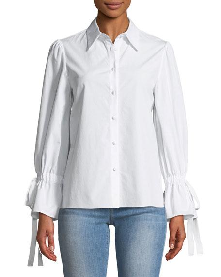 Julianna Puff-Sleeve Button-Front Tie-Cuff Shirt