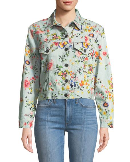 Chloe Floral-Print Cropped Denim Jacket