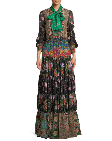 b6d5e3a82c86 Alice + Olivia Clementine Tie-Neck Long-Sleeve Tiered Printed Maxi Dress