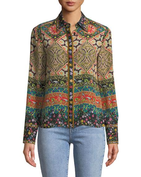 Willa Long-Sleeve Button-Front Mixed-Print Silk Top