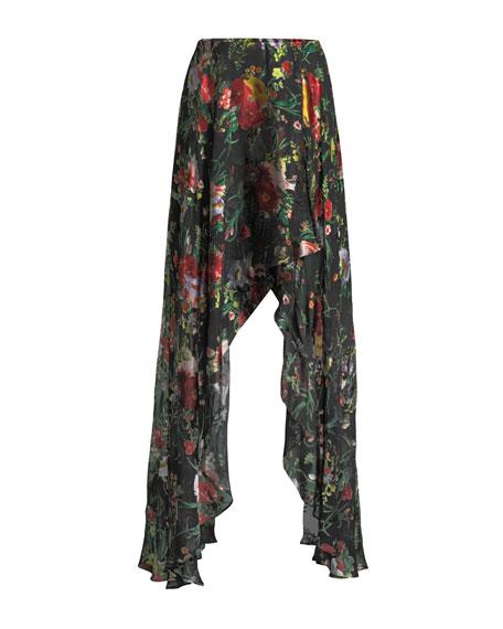Kirstie Cascade Floral-Print Overlap Skirt
