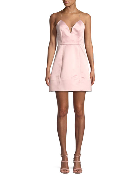 Pearl Deep V Sleeveless Lantern Cocktail Dress