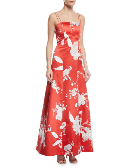 Rai Bustier Floral-Print Evening Gown