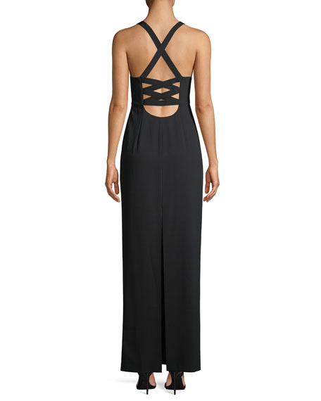 Brianna Sleeveless Side-Ruched Satin Maxi Dress
