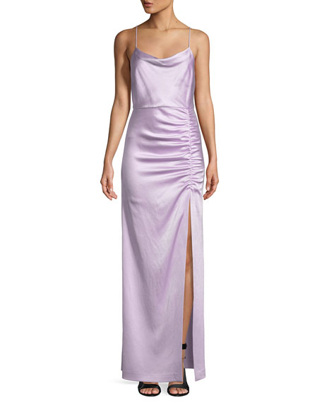 Cowl Neck Back Wedding Dresses: Alice + Olivia Diana Sleeveless Cowl-Neck High-Slit Column