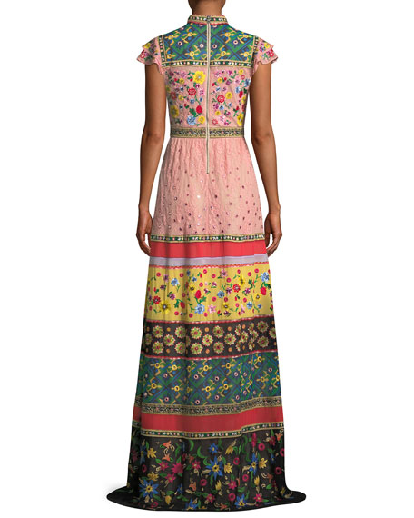 Arabella Mock-Neck Floral-Embroidered Evening Gown