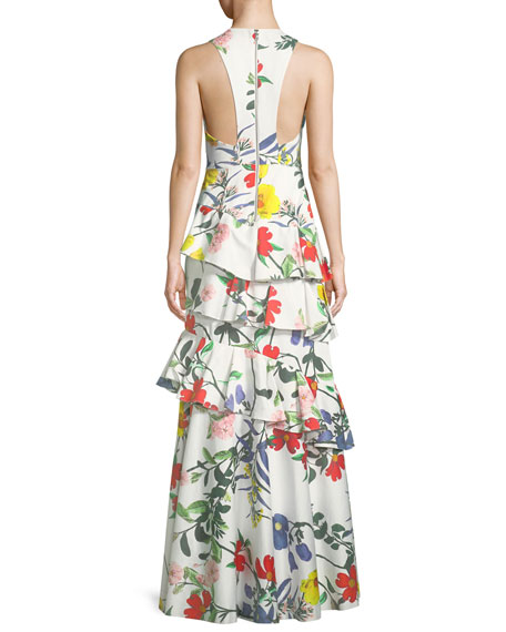 Flossie Sleeveless Deep-V Floral-Print Ruffled Tiered Gown