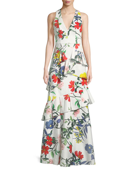 Alice + Olivia Flossie Sleeveless Deep-V Floral-Print Ruffled
