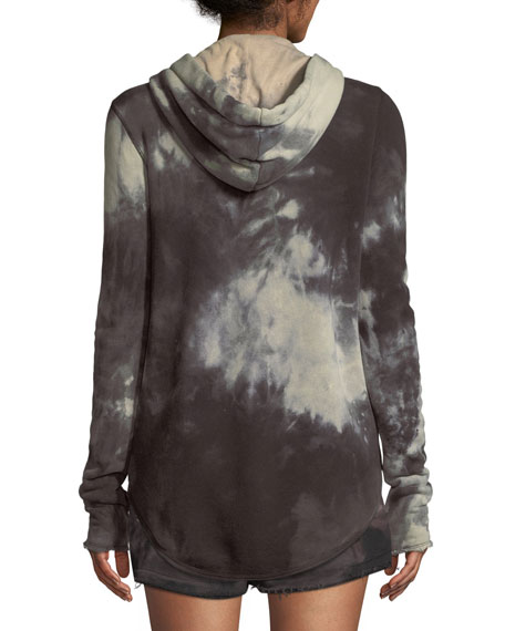 Tie-Dye French-Terry Zip-Front Hoodie Jacket
