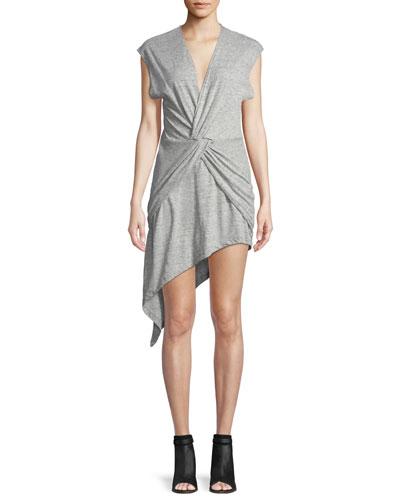 Bamava V-Neck Twisted Jersey Dress with Asymmetric Hem