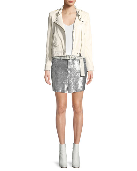 Natou Belted Sequined Mini Skirt