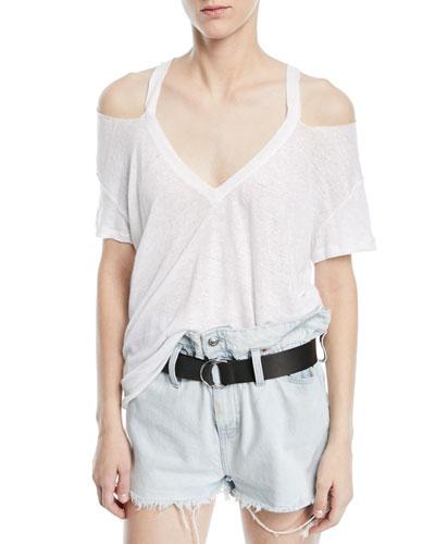Miffres V-Neck Cold-Shoulder Linen Top