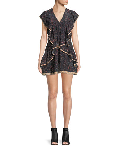 Jicka V-Neck Printed Silk Dress with Ruffled Frills