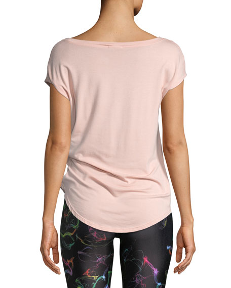 Twist-Front Cap-Sleeve Jersey Top