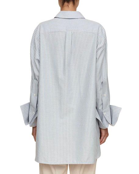 tie-front button-front striped cotton boyfriend shirt