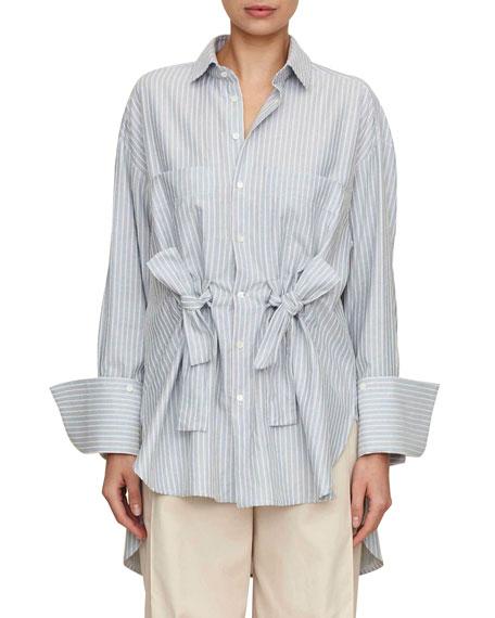 PALMER HARDING Tie-Front Button-Front Striped Cotton Boyfriend Shirt in Blue Pattern