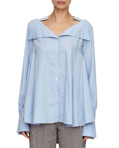 portrait button-down oversized cotton shirt