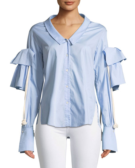 Combine Button-Front Long-Sleeve Poplin
