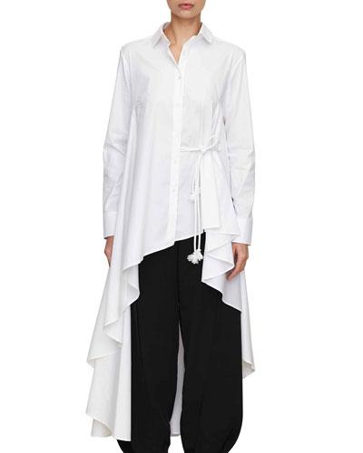button-down long asymmetric super shirt