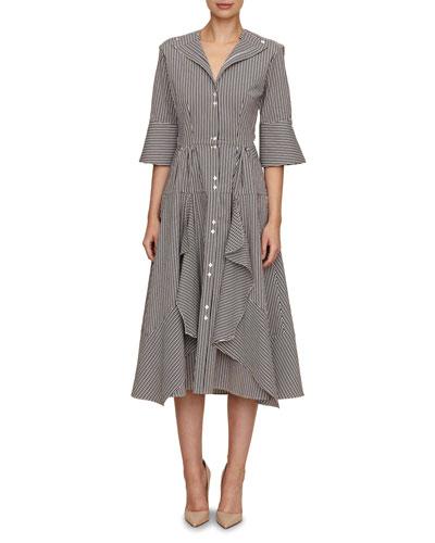 april 3/4-sleeve button-down striped dress