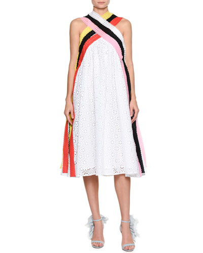 Sleeveless A-Line Crisscross Eyelet Dress w/ Colorful Strands
