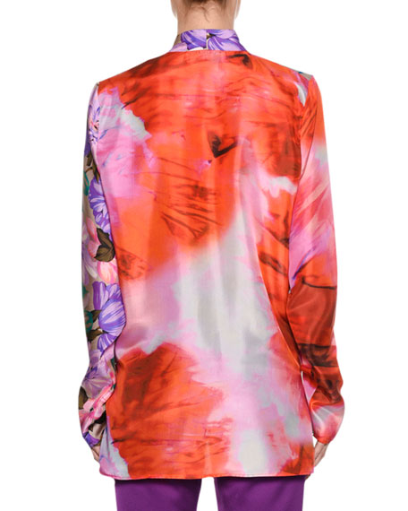 Long-Sleeve Silk Satin Mixed-Print Top