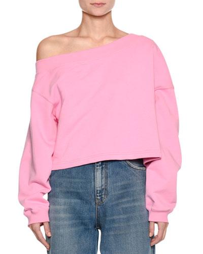 Off-the-Shoulder Sweatshirt w/ Logo at Back