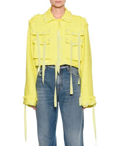 Cropped Boucle Jacket w/ Ribbon Trim