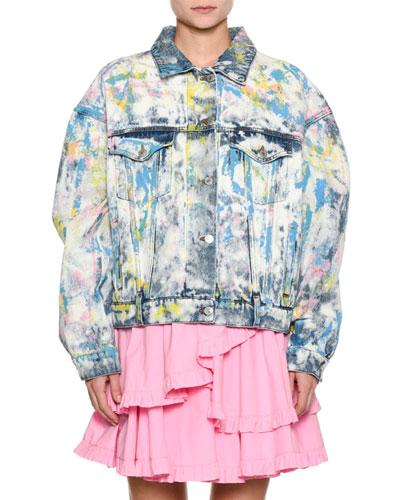 Tie-Dye Paint-Splatter Oversized Denim Jacket