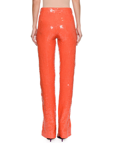 Neon Sequin Straight-Leg Trousers