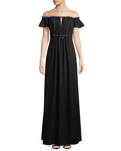 Claudine Off-the-Shoulder Keyhole Gown