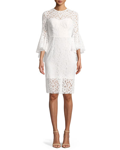 Anya Stretch Lace Bell-Sleeve Cocktail Dress