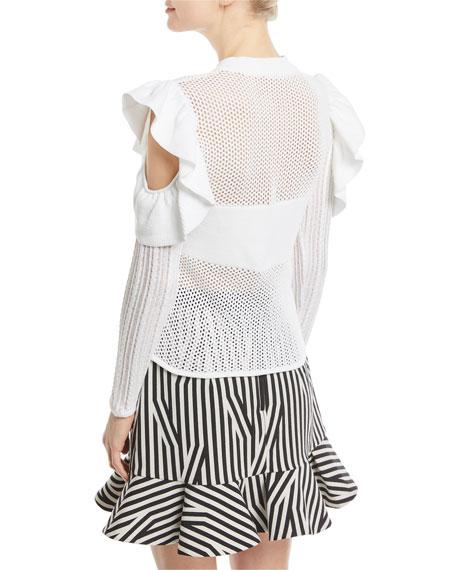6237ba598b4731 Self-Portrait Frill Cold-Shoulder Open-Knit Top