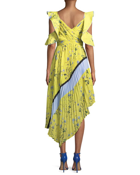 Pleated Asymmetric Floral-Print Cocktail Dress
