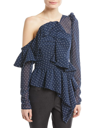 One-Shoulder Dotted Plumetis Frill Top