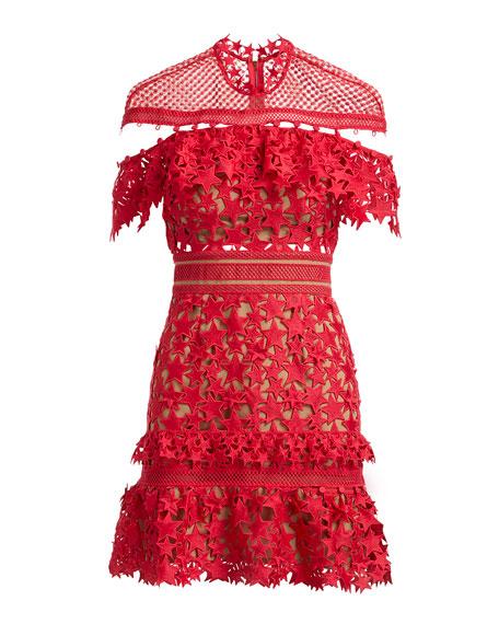 Star-Guipure Yoke Frill Mini Cocktail Dress