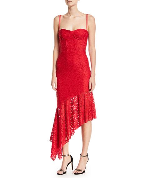 Milly Angelina Sleeveless Asymmetric Stretch Lace Dress