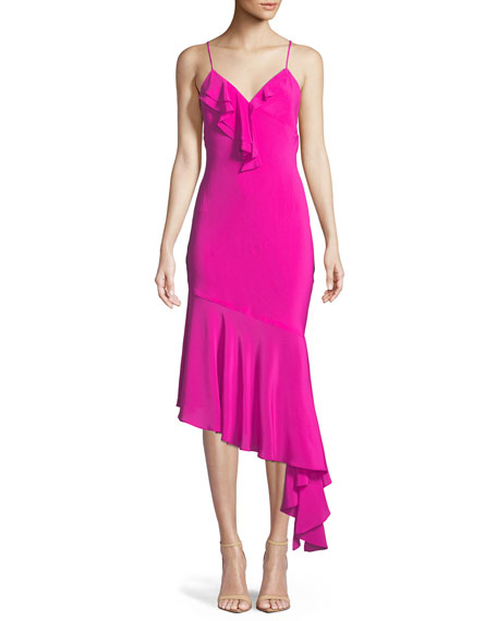 Sleeveless Asymmetric Petal Slip Dress